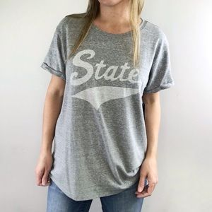 LUCKY BRAND gray STATE roll cuff graphic tee sz XL